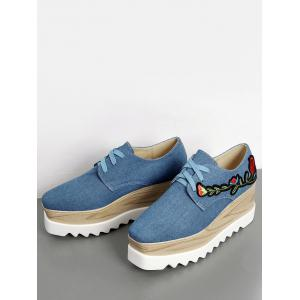 Square Toe Denim Embroidery Wedge Shoes - DENIM BLUE 39