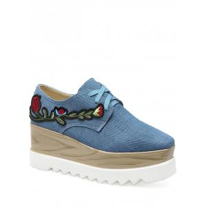 Square Toe Denim Embroidery Wedge Shoes