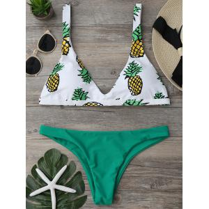 Pineapple Print High Cut Bikini Set