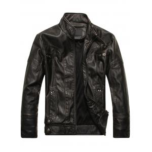 Panel Design Stand Collar PU Leather Fleece Jacket