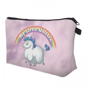 Unicorn Print Makeup Bag - PINKISH PURPLE