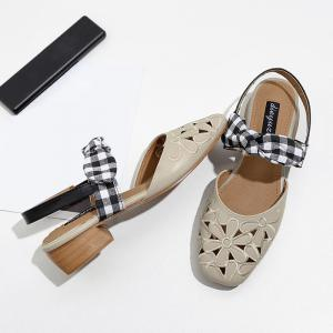 Hollow Out Plaid Pattern Sandals -
