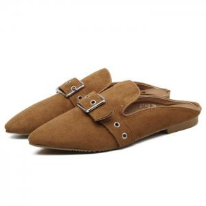 Eyelets Buckle Strap Slippers -