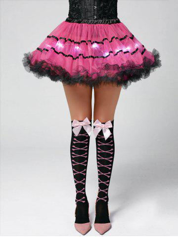 Tier Light Up Color Block Tutu Cosplay Jupe Rose Foncé TAILLE MOYENNE