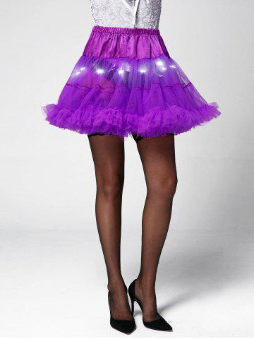 Light Up Ruffles Tutu Voile Cosplay Jupe Violet Clair TAILLE MOYENNE