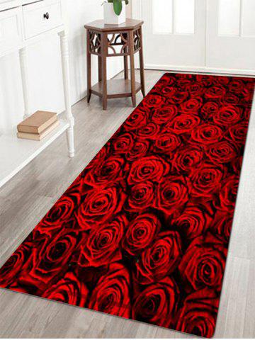Rose Flower Pattern Anti-skid Water Absorption Area Rug - Deep Red - W24 Inch * L71 Inch