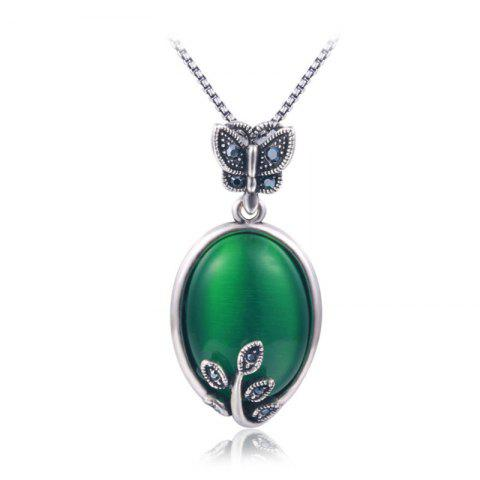 Faux Emerald Butterfly Oval Pendant Necklace - Green