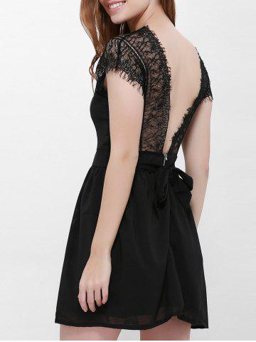 Fashion Lace Panel Back Cutout Mini Skater Club Dress BLACK XL