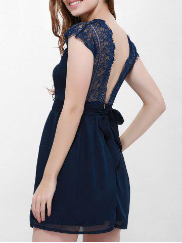 Cape Sleeve V-Neck Backless Lace Splicing Wide Hem Women's Dress Bleu XL