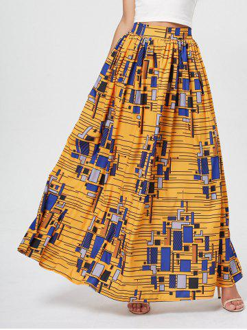 African Printed High Waist Skirt - Deep Yellow - M