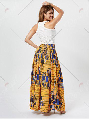 Outfits African Printed High Waist Skirt - M DEEP YELLOW Mobile