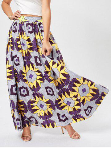 Fancy African Printed High Waist Skirt - L PURPLE Mobile