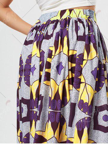 Chic African Printed High Waist Skirt - L PURPLE Mobile
