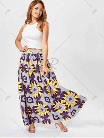 Trendy African Printed High Waist Skirt - L PURPLE Mobile