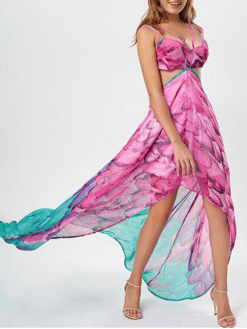 Outfit Cutout Printed Chiffon High Low Flowy Dress - L ROSE RED Mobile