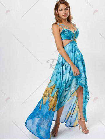 Shops Cutout Printed Chiffon High Low Flowy Dress - S LIGHT BLUE Mobile
