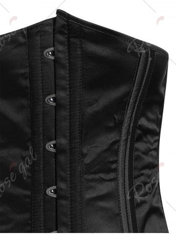 Store Steel Boned Lace-Up Waist Trainer Corset - 2XL BLACK Mobile