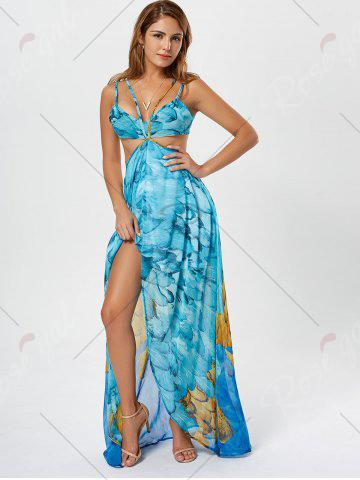 Store Cutout Printed Chiffon High Low Flowy Dress - L LIGHT BLUE Mobile