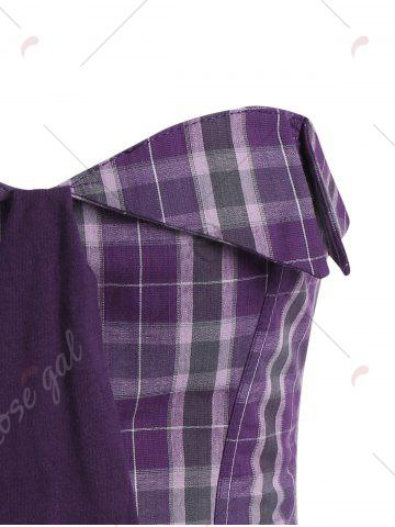 Fancy Plaid Waist Training Corset - S LIGHT PURPLE Mobile