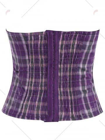 Affordable Plaid Waist Training Corset - S LIGHT PURPLE Mobile