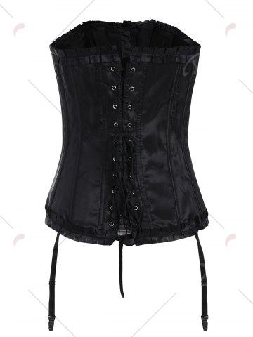 Fancy Lace-Up Body Shaping Corset - XL BLACK Mobile