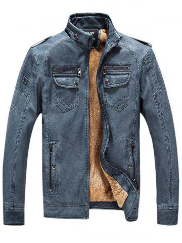 Zip Up Pockets Epaulet Fleece PU Leather Jacket - Denim Blue - 3xl