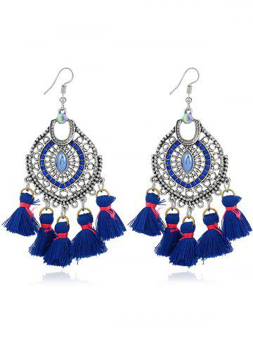 Dreamcatcher Shape Tassel Pendant Hook Earrings - Blue
