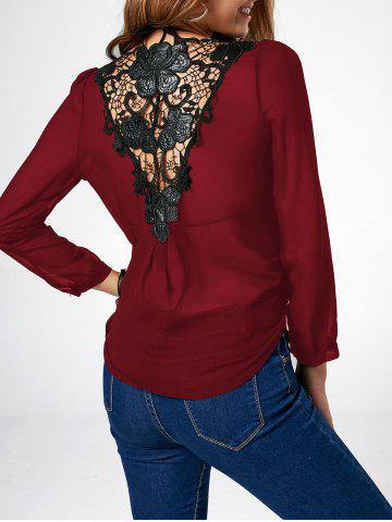 Lace Trim Asymmetric Chiffon Long Sleeve Blouse - Wine Red - Xl