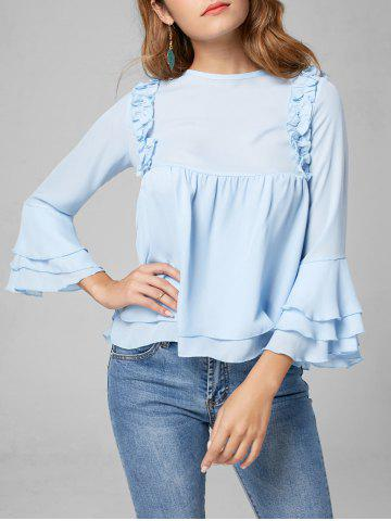 Best Flare Sleeve Tiered Chiffon Ruffle Blouse