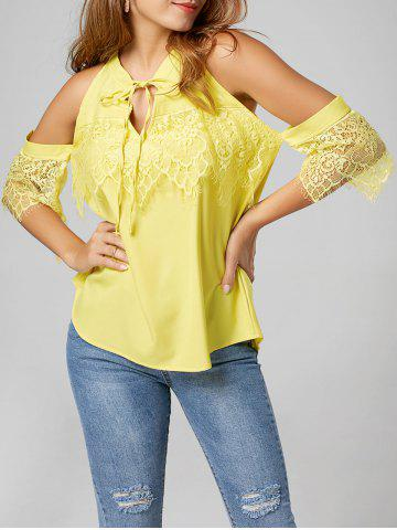 Lace Panel Cold Shoulder Top - Yellow - 2xl