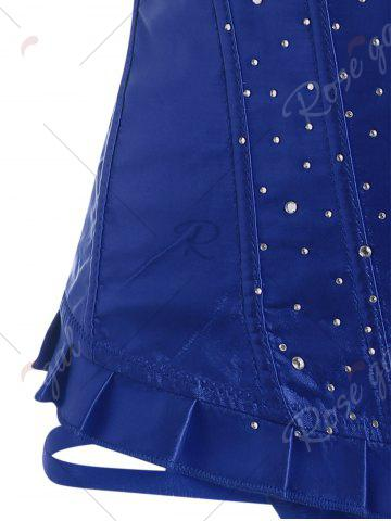 Best Lace-Up Rhinestone Steel Boned Corset - S BLUE Mobile