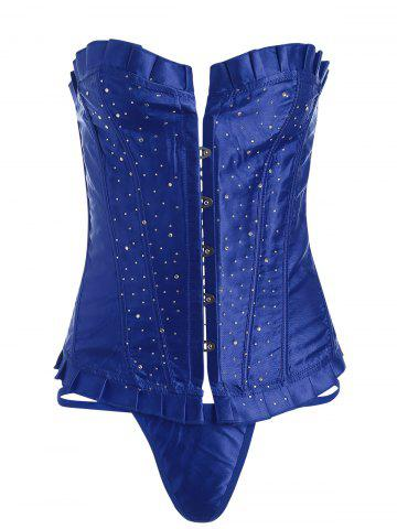 Trendy Lace-Up Rhinestone Steel Boned Corset - S BLUE Mobile