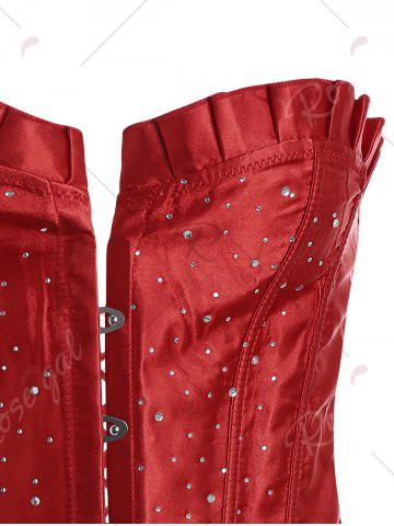 Latest Lace-Up Rhinestone Steel Boned Corset - L RED Mobile