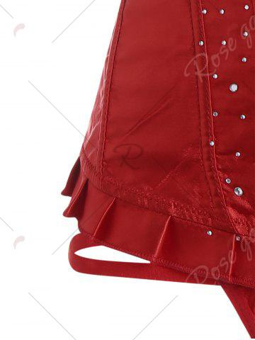 Affordable Lace-Up Rhinestone Steel Boned Corset - L RED Mobile