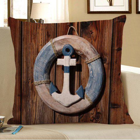 Chic Anchor Wood Grain Steering Wheel Linen Pillow Case - 45*45CM BROWN Mobile