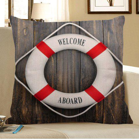 Outfits Vintage Wood Grain Steering Wheel Print Linen Pillow Case - 45*45CM DEEP GRAY Mobile