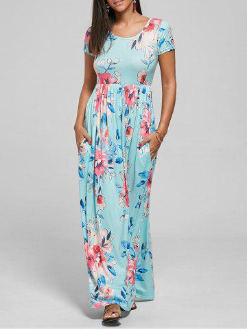 Hot Pocket Floor Length Floral Print Dress - XL BLUE Mobile