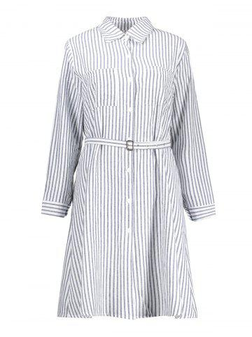Online Plus Size Striped Long Sleeve Shirt Dress BLUE AND WHITE 2XL