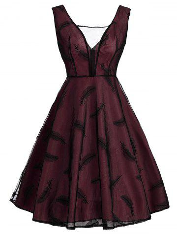 Cheap Feather See Thru Mesh Panel Vintage Dress WINE RED S