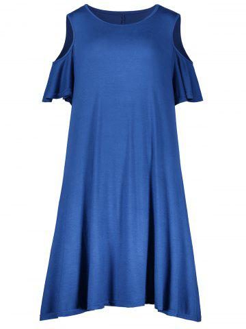 Latest Plus Size Cold Shoulder T Shirt Dress BLUE 4XL