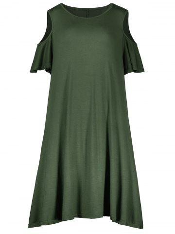 Shops Plus Size Cold Shoulder T Shirt Dress ARMY GREEN 4XL