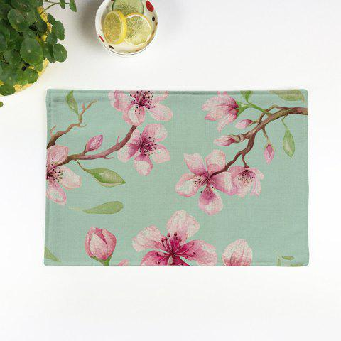 Fancy Floral Table Heat Resistant Linen Placemat - PATTERN D LIGHT GREEN Mobile