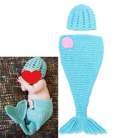 Knit Baby Mermaid Twinset Baby Sleeping Bag Blanket - Blue - M
