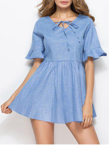 Bell Sleeve Skater Mini Dress - Blue - Xl