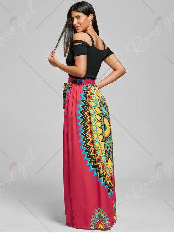 Discount Print Maxi Bohemian Skirt with Belt - XL RED Mobile