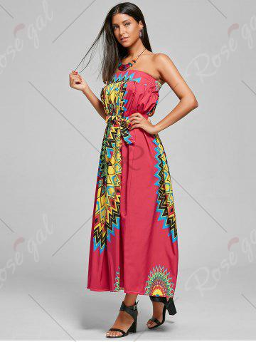 Outfits Print Maxi Bohemian Skirt with Belt - XL RED Mobile