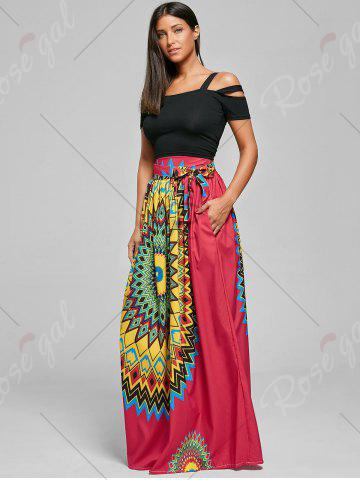 Fashion Print Maxi Bohemian Skirt with Belt - XL RED Mobile