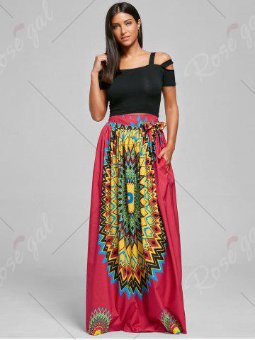 Unique Print Maxi Bohemian Skirt with Belt - XL RED Mobile