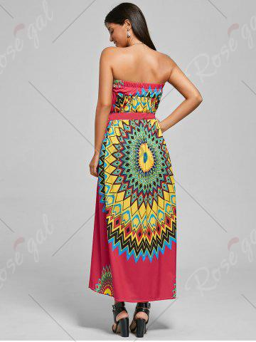 Store Print Maxi Bohemian Skirt with Belt - XL RED Mobile