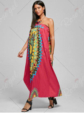 Fancy Print Maxi Bohemian Skirt with Belt - XL RED Mobile
